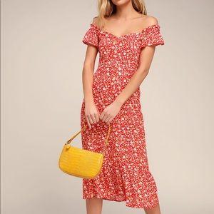 Mariana Red Floral Print Midi Dress